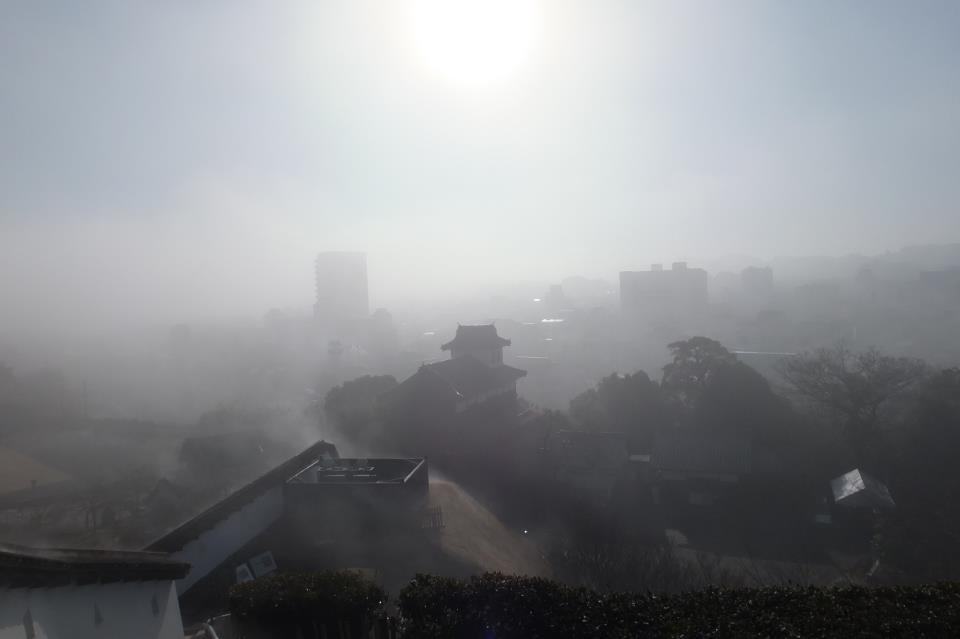 掛川城 霧