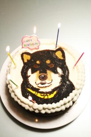 ワンコの似顔絵(!)誕生日ケーキを作ってみた。 (7)