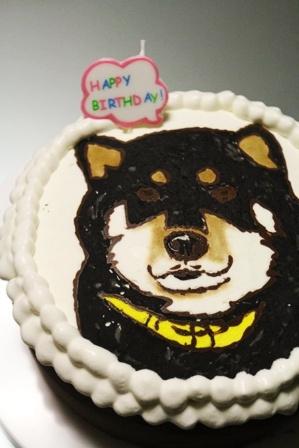 ワンコの似顔絵(!)誕生日ケーキを作ってみた。 (10)