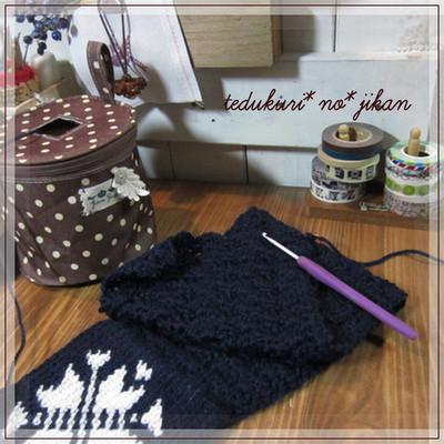 もくもくと模様編み
