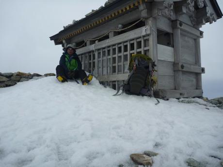 雄山で記念撮影