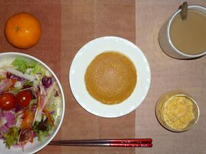 パンケーキ,サラダ,ひき肉入りスクランブルエッグ,みかん,コーヒー