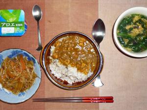 スパイシーチキンカレーライス,キンピラゴボウ,ほうれん草の中華スープ,ヨーグルト