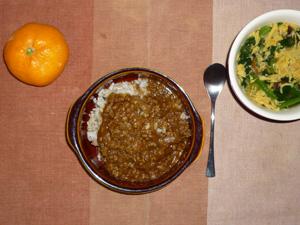 スパイシービーフカレー,ほうれん草と玉子の中華スープ,みかん