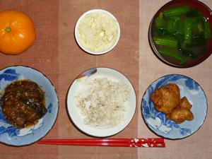 胚芽押麦入りご飯,鶏の唐揚げ,茄子の肉味噌炒め,マッシュポテト,ほうれん草のおみそ汁,みかん