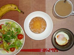 パターラ(チョコレート),サラダ,目玉焼き,バナナ,コーヒー