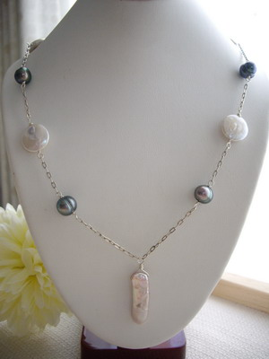 stick pearl&coin pearl necklace