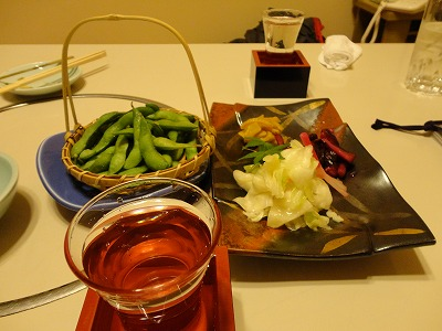 枝豆と漬物