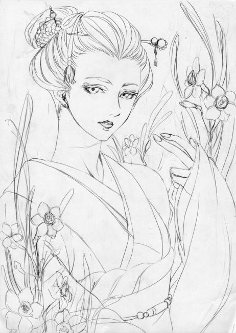水仙と女 下描き