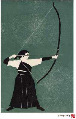少女、弓を引く。