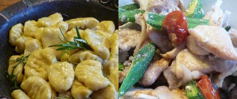 お肉とドライトマト、オクラの炒め物、サツマイモのニョッキ