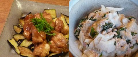 鶏の揚げ煮(梅風味)&大根サラダ(ごまマヨしょうゆ)