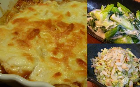 メカジキのチーズ焼き、青梗菜のクリーム煮&キャベツとツナのエスニック風サラダ