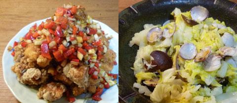 鶏のネギソース&アサリとキャベツの酒蒸し