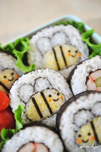 わくわくキャラクター弁当 ミツバチの飾り巻き寿司
