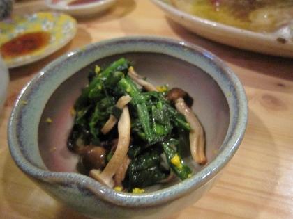菊菜としめじの和え物