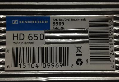 切り取られたシリアルナンバー HD650 箱