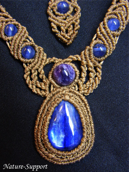 マクラメ編みネックレス カイヤナイト&チャロアイト