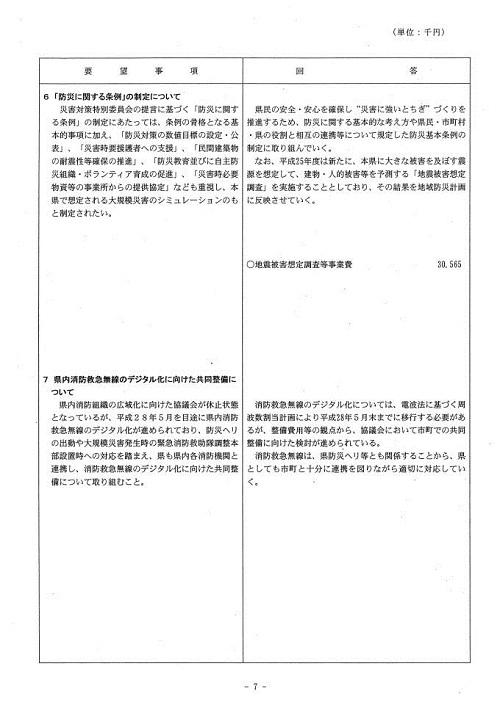 栃木県当初予算および行政推進に関する要望書に対する回答⑧