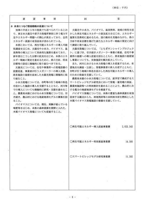 栃木県当初予算および行政推進に関する要望書に対する回答⑨