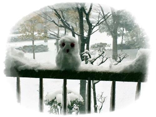 ベランダで雪だるま